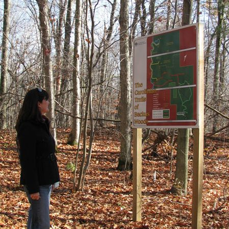 Backus Woods trail signage