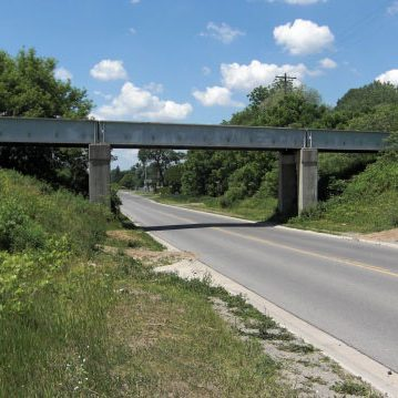 Westward-facing view of Thompson Road Bridge
