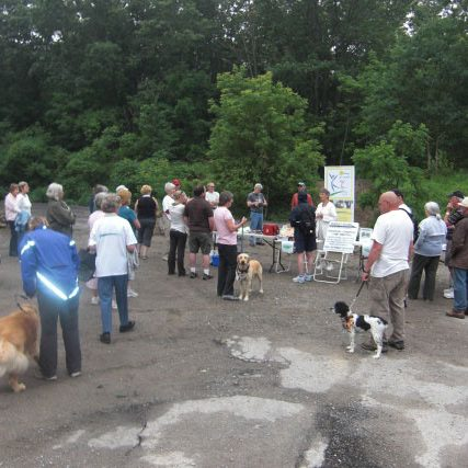 Gathering at trail event