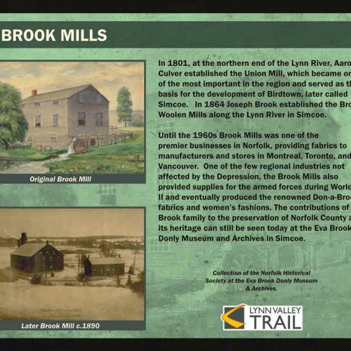 Brook mills historical information sign