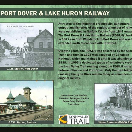 Port Dover & Lake Huron Railway historical information sign