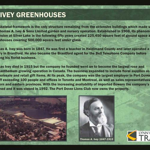 Ivey Greenhouses historical information sign