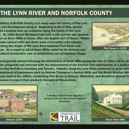 Lynn River and Norfolk County historical information sign