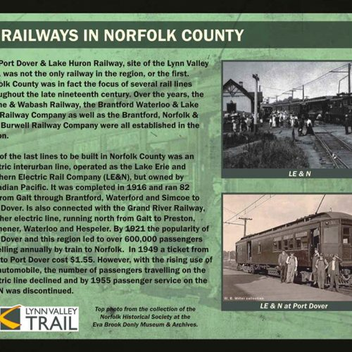 Railways in Norfolk County historical information sign