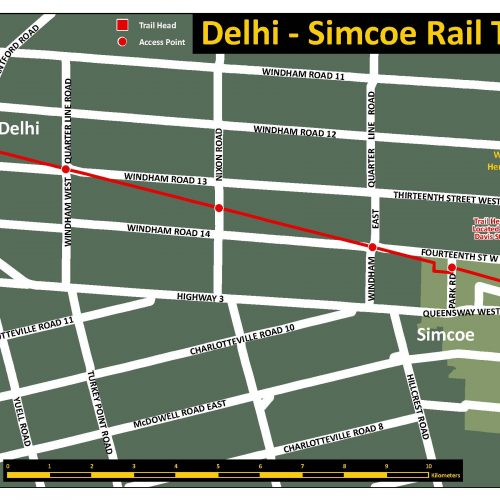 Delhi - Simcoe Rail Trail map