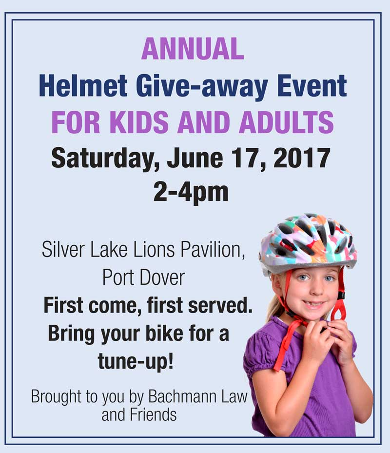 Annual Helmet Give-away Event; June 17, 2017 2-4pm; Silver Lake Lions Pavilion, Port Dover